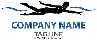Swimmer Logo - Vector Design of Male Swimmer Silhouette for...