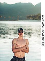 Swimmer model in a sea