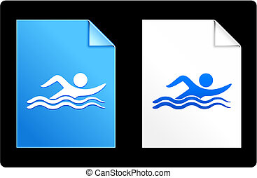 Swimmer on paper set Original Vector Illustration AI 8...