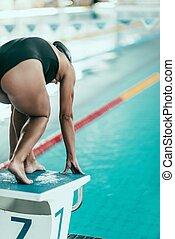 Swimmer on starting block