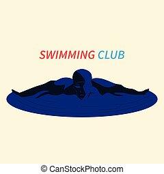 Swimmer on white background