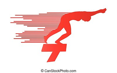 Swimmer position for jump on starting block vector background concept
