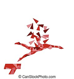 Swimmer professional jumping position vector abstract illustration concept made with polygon fragments