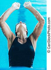 Swimmer starting race