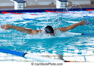 Swimmer swimming in the pool