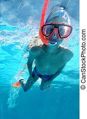 Swimmer swimming underwater