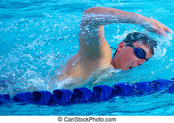 Swimmer Taking a Quick Breath Doing Freestyle