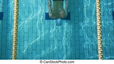 Swimmer training in a swimming pool - Overhead view of a ...