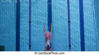 Overhead view of a young female swimmer training in a swimming pool, breaststroke