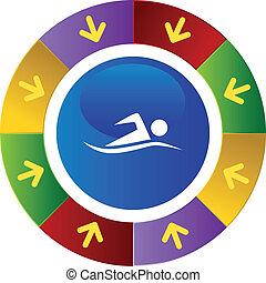 Swimmer web button isolated on a background