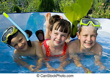 swimmers - children in swimming pool