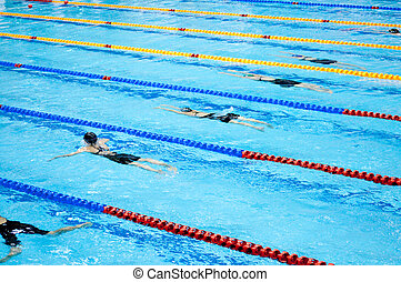 swimmers swimming in a pool