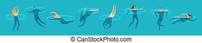 Swimming and diving people in ocean cartoon vector illustration