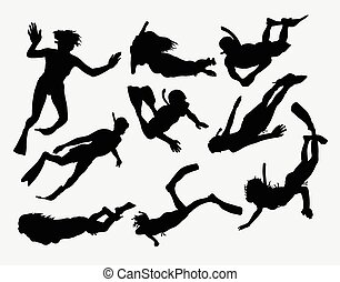 Swimming and diving silhouettes