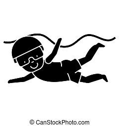 swimming boy  icon, vector illustration, sign on isolated background