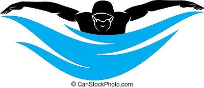 Stylized male swimmer swimming a butterfly stroke.