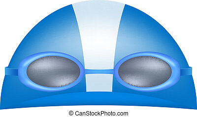 Swimming cap and goggles in blue design on white background