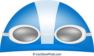 Swimming cap and goggles on white background