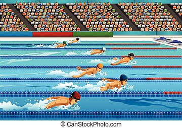 Swimming competition - A vector illustration of swimmers ...