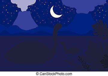Swimming dinosaurs. Night nature scene