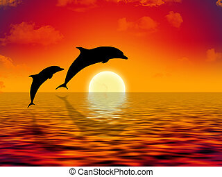 swimming dolphins - illustration of two dolphins swimming in...