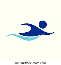 Swimming Figure Abstract Swoosh Symbol Design