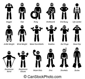 Swimming gears and equipment stick figure icons pictogram.