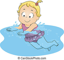Swimming Girl - Illustration of a Young Girl Happily...