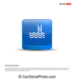 Swimming Icon - 3d Blue Button