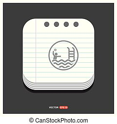 Swimming Icon Gray icon on Notepad Style template Vector EPS 10 Free Icon