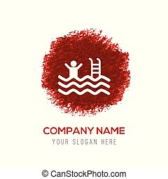 Swimming Icon - Red Water Color Circle Splash