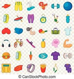 Swimming icons set, cartoon style