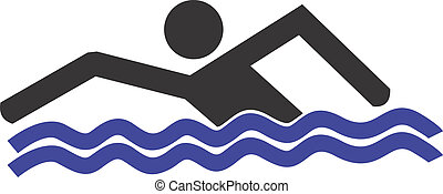 Swimming - Illustration of a symbol of man swimming in a...