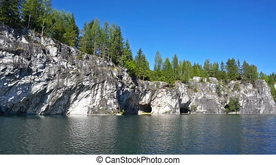 Swimming in marble quarry in Ruskeala, Karelia