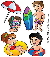 Swimming kids collection - vector illustration.
