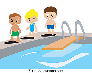 Kids ready for swimming illustration