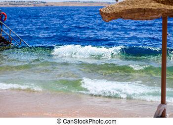 Swimming ladder with a pontoon in the warm sea. Egypt, Sharm El Sheikh.