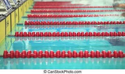Swimming Lane Marker - competitive swimming turn side view...