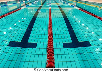 swimming lanes large empty swimming pool lanes closeup