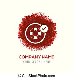 Swimming Lifebuoy Allowed Icon - Red Water Color Circle Splash