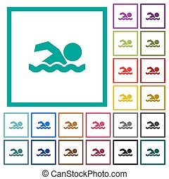 Swimming man flat color icons with quadrant frames
