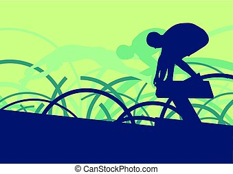 Swimming man jump abstract landscape vector background with...