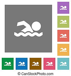 Swimming man square flat icons