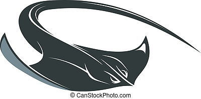 Swimming cartoon manta or sting ray with outspread pectoral fins and a long curved tail isolated on white