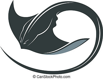 Swimming manta ray or sting ray with a curly tail and ...