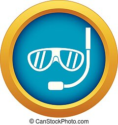 Swimming mask icon blue vector isolated