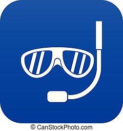 Swimming mask icon digital blue