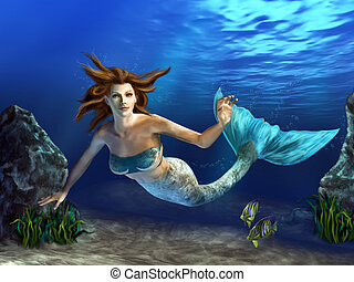 Swimming Mermaid - Beautiful mermaid swimming in a blue sea,...