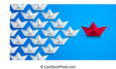 Swimming origami ship leading the team group of smaller ships, business leadership concept, vector modern style 3d realistic illustration. Marine sea armada, military.