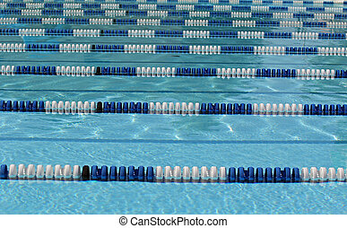 Swimming pool 23 - White and blue competitive pool lane ...